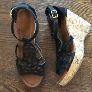 NEW • Bamboo Cork & Suede eyelet wedge sandals 6.5